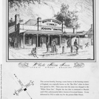 Image: An illustration of the Whitehorse Inn on Currie street as it stood prior to its demolition to make way for Elder House. The image shows a quaint pub with people and horses nearby.