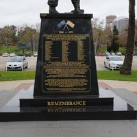 Image: Black memorial monument for the Vietnam War, back of memorial.
