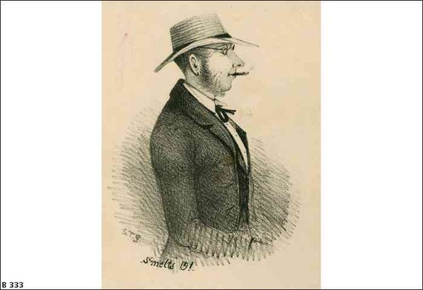 Image: a lithograph of a man in profile wearing a straw hat and smoking a cigar