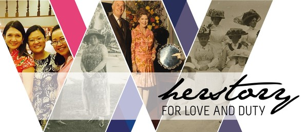 """Image: collage of women with text """"HerStory for Love and Duty"""""""