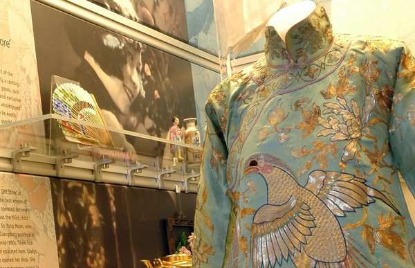 Image: display case showing Chinese costume