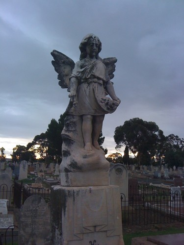 Image: Stone angel with graves visible in the background
