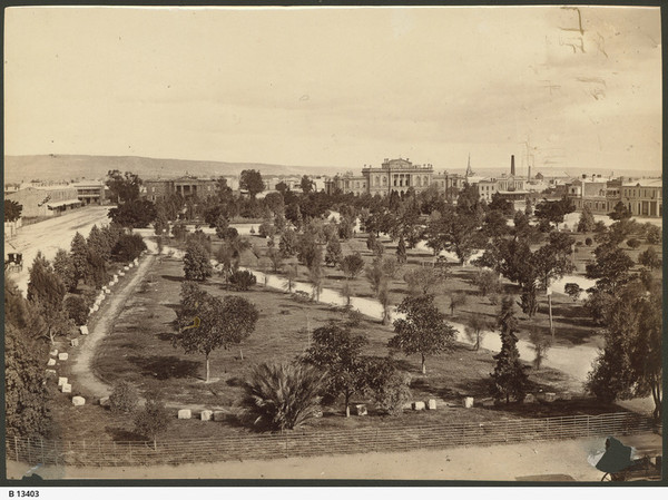 Image: view of a garden in the middle of a city