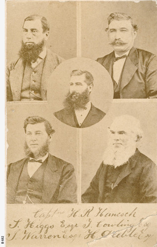 Image: A photographic collage containing the portraits of five Caucasian men in late Victorian-era attire. Four of the men are bearded, while the fifth sports a handlebar moustache. Two of the men are middle aged; the other three are younger