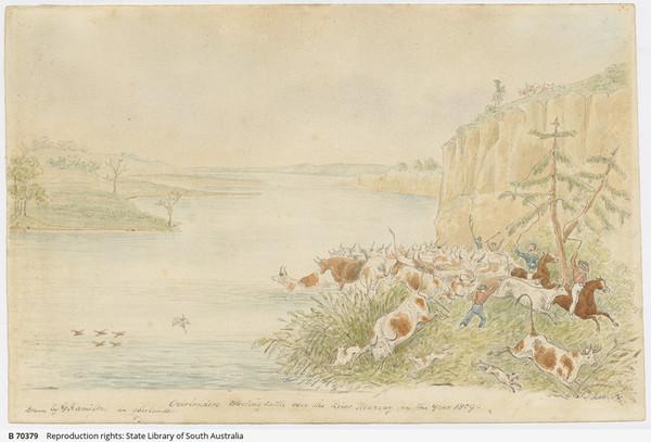 Image: painting of men hearding cattle