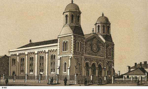 Drawing of church with people in the foreground