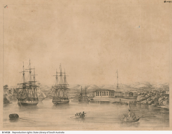 Image: Two large sailing ships are anchored in a river. A smaller sailing vessel is berthed at a small wharf, adjacent to which is a two-storey building