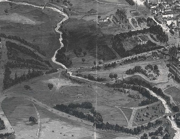 Image: map drawing of buildings, roads, river, bridge and tunnel