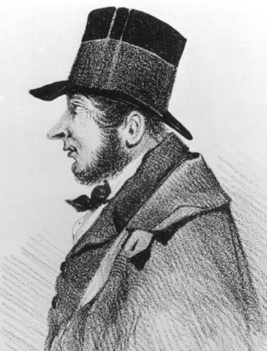 Image: drawing of a man in profile wearing a top hat