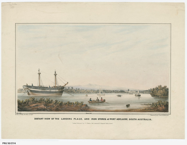 Image: A colour lithograph of a nineteenth-century sailing ship moored in a river surrounded by mangroves. Two arched buildings can be seen on the water line to the right of the composition, and manned row boats and sailboats are visible on the water.
