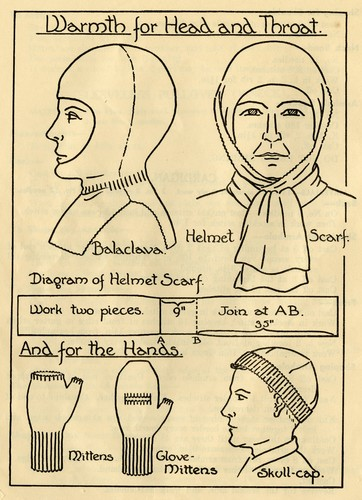 Image: Illustration of several knitted items including a balaclava, helmet scarf, mittens, glove-mittens and a skull-cap