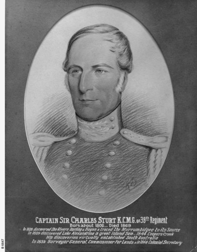 Image: Portrait of Captain Charles Sturt with text below noting his year of birth and death, and detailing some of his discoveries and achievements