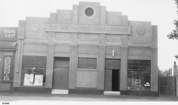 Image: Exterior of Art Deco style church and associated book shop