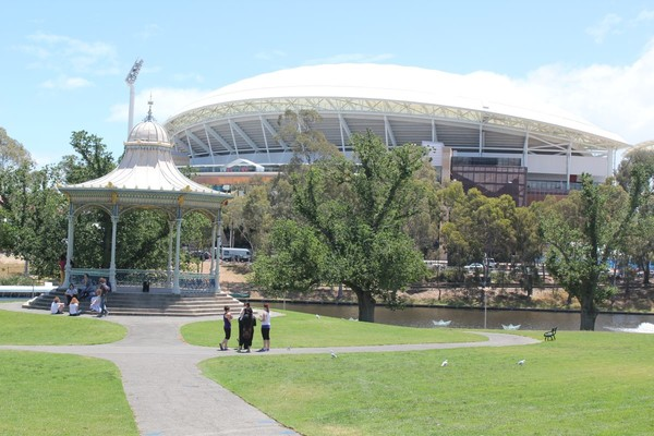 Elder Park rotunda and Adelaide Oval, December 2013