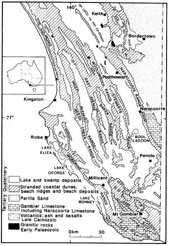 Image: map showing coastal dunes