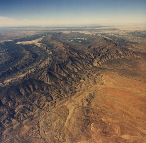 Image: aerial view of hilly ranges