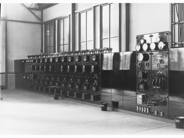 Bank of dials and meters in a power station