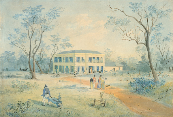 Image: a watercolour painting of a two storey cream coloured building with a single storey wing to the right, shuttered windows, balconets and a low pitched roof.  Men and women in 1840s dress approach the house either on foot or in horse drawn carriages.