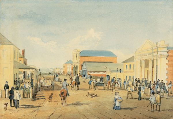 Image: watercolour painting of 19th century city street filled with people, horses and dogs