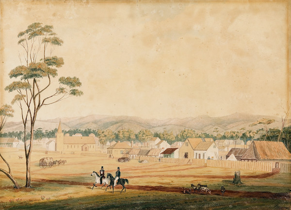 Image: a watercolour painting of two men riding through a field which backs on to a row of small wooden cottages and a small church, all behind a wooden fence.