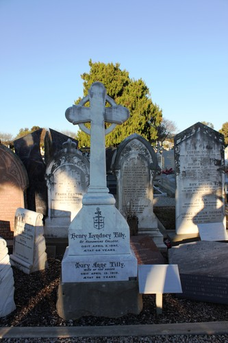 white marble cross headstone