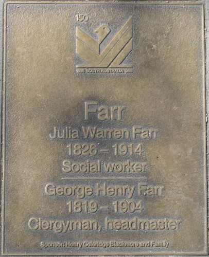 Jubilee 150 walkway plaque of Julia and George Farr