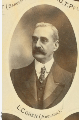 Image: Portrait photograph of a man in an oval frame wearing a suit and tie.
