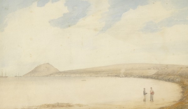 Image: Watercolour painting of bay with two men standing in foreground