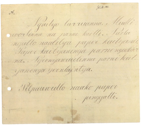 Letter in Kaurna by Pitpauwe, 1843