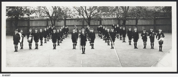 Image: Children from Sturt Street School Drum and Fife Band standing in formation, c. 1935