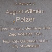 August Wilhelm Pelzer plaque on North Terrace
