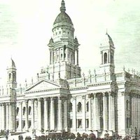 Image: a sketch of a large building with decorative columns, towers and a huge dome.