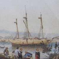 Image: A muddy riverbank and river with several sailing ships at anchor just offshore. A small group of people alight from a rowboat in the foreground