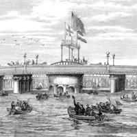 Image: Wood engraving depicting a multitude of people standing atop a bridge, while others celebrate in several small boats in the surrounding river. Three large flags, including an English St. George's cross, are flying from the bridge's central tower