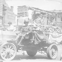 Image: Soldiers riding on a decorated truck