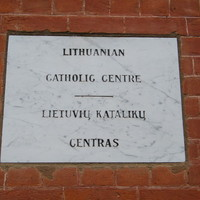 White marble, plaque for the Adelaide Lithuanian Catholic Centre