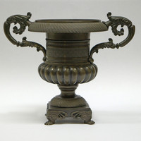 Image: Hellenic vase shaped bronze urn on square base