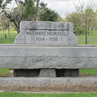 Image: carved grey granite horse trough memorial situated in the East parklands