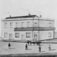 Image: pencil drawing of people in front of large stone building