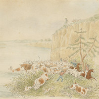 Image: painting of men hearding cattle