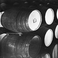 Image: wine barrels in cellar