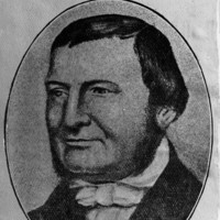 Image: A painted head-and-shoulders portrait of a middle-aged man with mutton-chop sideburns and dressed in Victorian-era attire