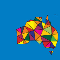 Image: map of Australia in multicoloured pattern