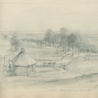 Image: Sketch of a toll house and winding country road