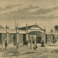 Image: engraving of a market entrance