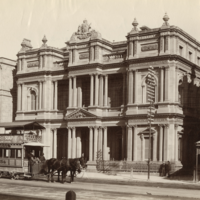 Image: Horse tram in front of fancy bank building