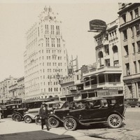 Image: street scene with tall building