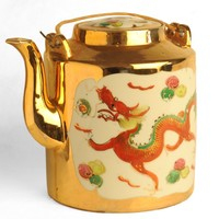 Image: tea pot decorated with Chinese dragon