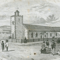 Image: black and white sketch of people gathered in pairs or small groups outside a squat stone church with a single tower which is surrounded by a wooden fence.