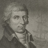 Drawing of man's head and shoulders with tall ship in the background.